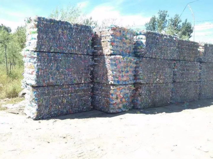 pet bottles bales in the plastic recycling plants