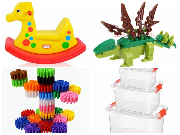 Toys and boxes made of recycling plastic