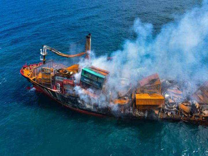 the smouldering container ship